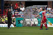 10th August 2019; Dens Park, Dundee, Scotland; SPFL Championship football, Dundee FC versus Ayr; Ayr United manager Ian McCall is yellow carded by referee Alan Newlands