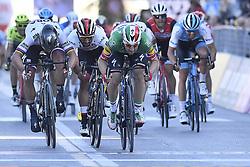 March 15, 2019 - Foligno, Perugia, Italia - Foto LaPresse/Fabio Ferrari .15/03/2019 Pomarance (Italia) .Sport Ciclismo.Tirreno-Adriatico 2019 - edizione 54 - da Pomarance a Foligno  (226 km) .Nella foto:Elia Viviani (Deceuninck - Quick-Step) 2 - Peter Sagan (Bora - Hansgrohe) .3 - Fernando Gaviria Rendon (UAE Team Emirates)..Photo LaPresse/Fabio Ferrari .March 15, 2018 Pomarance (Italy).Sport Cycling.Tirreno-Adriatico 2019 - edition 54 - Pomarance to Foligno (140 miglia) .In the pic:Elia Viviani (Deceuninck - Quick-Step) 2 - Peter Sagan (Bora - Hansgrohe) .3 - Fernando Gaviria Rendon (UAE Team Emirates) (Credit Image: © Fabio Ferrari/Lapresse via ZUMA Press)