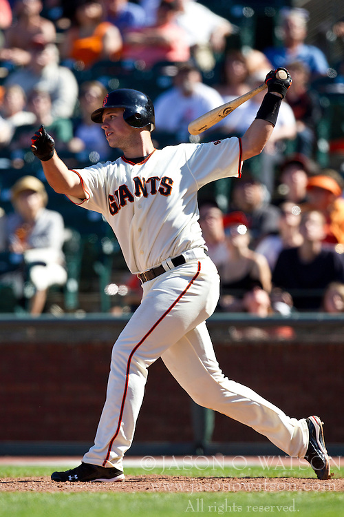 May 30, 2010; San Francisco, CA, USA;  San Francisco Giants catcher Buster Posey (28) at bat against the Arizona Diamondbacks during the tenth inning at AT&T Park.  San Francisco defeated Arizona 6-5 in 10 innings.