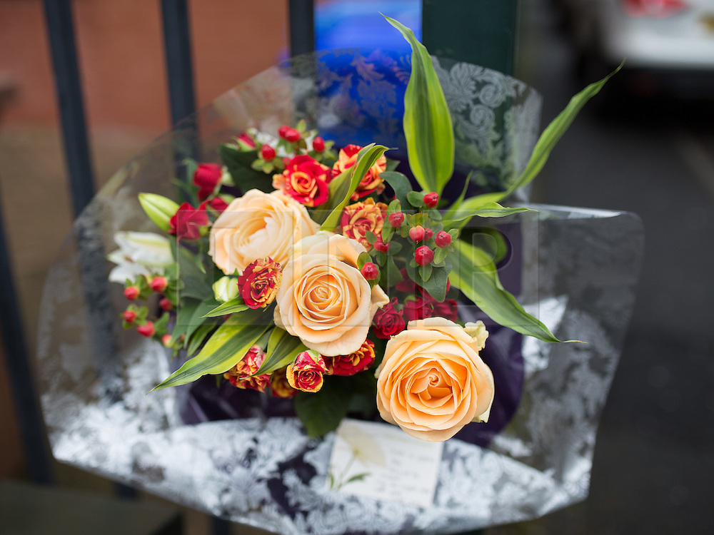 © Licensed to London News Pictures . 01/03/2016 . Manchester , UK . Flowers left in memory , outside the Masjid Hamza Mosque on Moss Lane West in Ashton Under Lyne , where 11 year old Shahzaib Hussain was killed by a hit and run driver yesterday evening (Monday 29th February 2016) . Photo credit : Joel Goodman/LNP