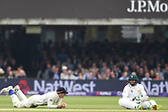 Dom Bess of England and Asad Shafiq of Pakistan on DAy Two of the NatWest Test Match match at Lord's, London<br /> Picture by Simon Dael/Focus Images Ltd 07866 555979<br /> 25/05/2018