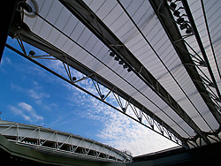 LONDON, ENGLAND - Monday, July 9, 2018: The Centre Court roof half open on day seven of the Wimbledon Lawn Tennis Championships at the All England Lawn Tennis and Croquet Club. (Pic by Kirsten Holst/Propaganda)
