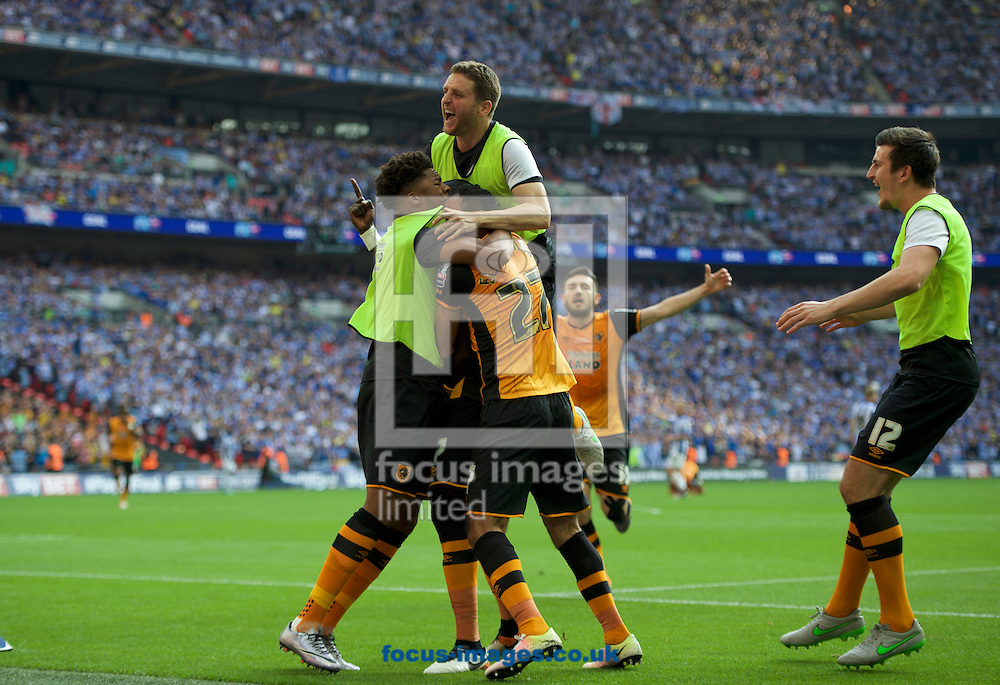 Mohamed Diame of Hull City celebrates with his team mates after scoring the opening goal during the Sky Bet Championship Play-off Final at Wembley Stadium, London<br /> Picture by Alan Stanford/Focus Images Ltd +44 7915 056117<br /> 28/05/2016