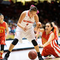 031215  Adron Gardner/Independent<br /> <br /> Gallup Bengal Rachelle Blackgoat (1), straddles a ball as Española Valley Sundevil Kayla Salazar (23) dives during a 5A New Mexico state basketball tournament semifinal at The Pit in Albuquerque Thursday.