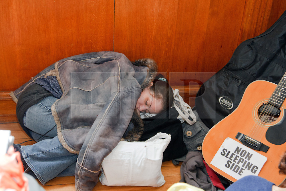 ©under licence to London News Pictures. 30/11/2010.  A sleeping student Inside the Cambridge University occupied building today (30/11/2010) during demonstrations against planned increases to tuition fees. Photo credit should read Jason Patel/London News Pictures