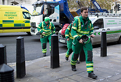 © Licensed to London News Pictures. 04/10/2019. London, UK. Paramedics from Incident Response Units arrive at Derby gate after white powder was reportedly delivered to Liberal Democrat Leader Jo Swinsons' office in Portcullis House .  Photo credit: George Cracknell Wright/LNP