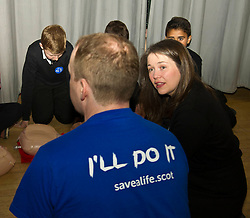 Pictured: Aileen Campbell<br /> Minister for Public Health Aileen Campbell joined P7 and S1 students at Beeslack High School in Penicuik for CPR training session attended by representatives from NHS, Police, fire and ambulance services.<br /> <br /> <br /> Ger Harley | EEm 24 November 2016