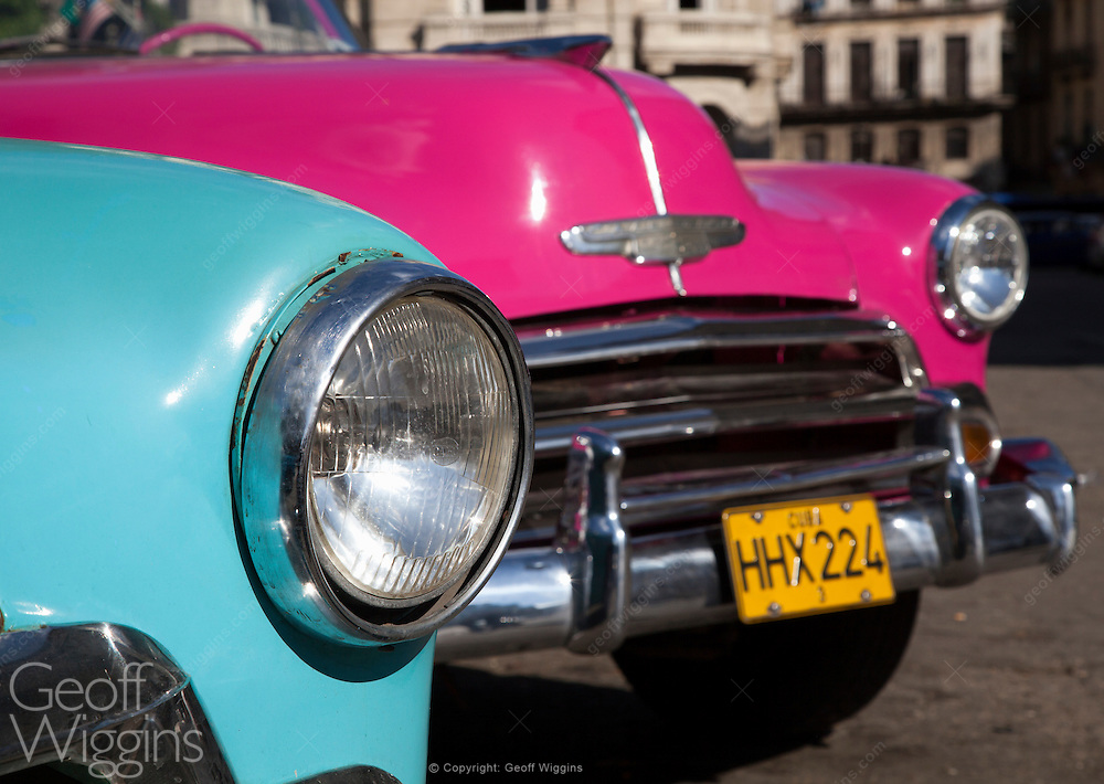Immaculately maintained 1953 Chevrolet Bel Air Convertibles, among an estimated 60,000 Detroit products from the pre-embargo age still surviving in Cuba