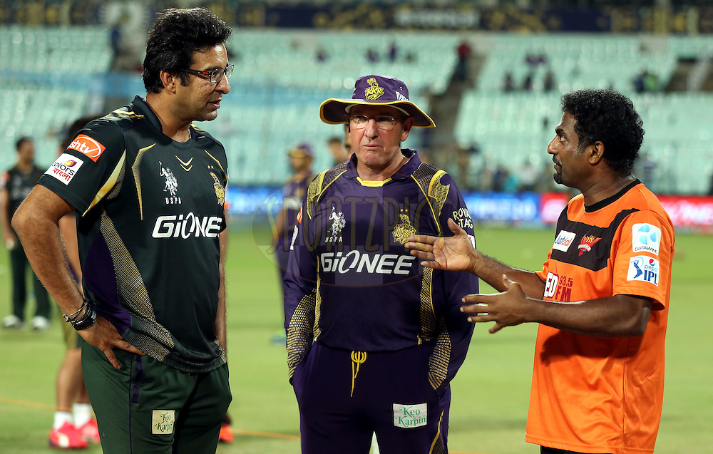 Wasim Akram bowling coach (L to R), Trevor Bayliss Kolkata Knight Riders coach and Muttiah Muralitharan sunrisers coach before the match 38 of the Pepsi IPL 2015 (Indian Premier League) between The Kolkata Knight Riders and The Sunrisers Hyderabad held at Eden Gardens Stadium in Kolkata, India on the 4th May 2015.<br /> <br /> Photo by:  Sandeep Shetty / SPORTZPICS / IPL