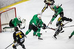 US Zan of HK SZ Olimpija with JEZOVSEK Zan of HK SZ Olimpija during Ice Hockey match between HK SZ Olimpija and HC Pustertal Wolfe in 3rd Final game of Alps Hockey League 2018/19, on April 14th, 2019, in Hala Tivoli, Ljubljana, Slovenia. Photo by Grega Valancic
