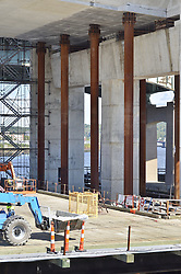 Pearl Harbor Memorial Bridge, New Haven Harbor Crossing Corridor, Interstate 95 in CT. Construction of Connecticut Department of Transportation Contract B as seen on September 9, 2011. New Northbound Span, Progress of the Replacement Bridge. When complete this will be the first Extradosed Bridge in the United States. Temporary deck supports at West end.
