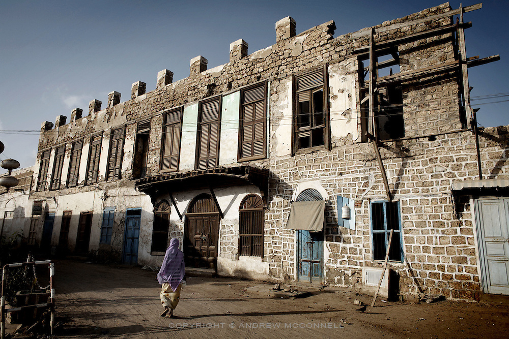Bombed out buildings still standing in the coastal town of Massawa, Eritrea. Massawa suffered blanket bombings by Ethiopians during the Struggle for Independence. .