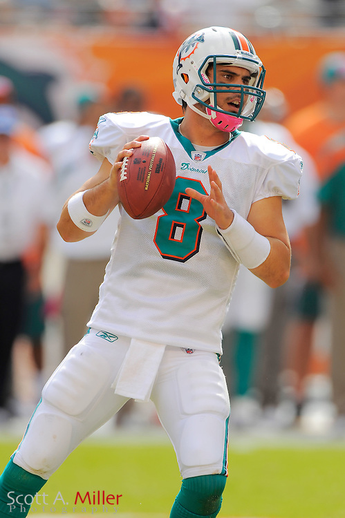 Miami Dolphins quarterback Matt Moore (8) in action during the Dolphins 18-15 overtime loss to the Denver Broncos at Sun Life Stadium on Oct. 22, 2011 in Miami Gardens, Fla.  ...©2011 Scott A. Miller