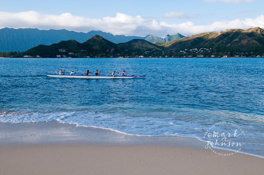 Outrigger canoe off Mokulua Nui Island, Kailua Bay, Oahu, HI