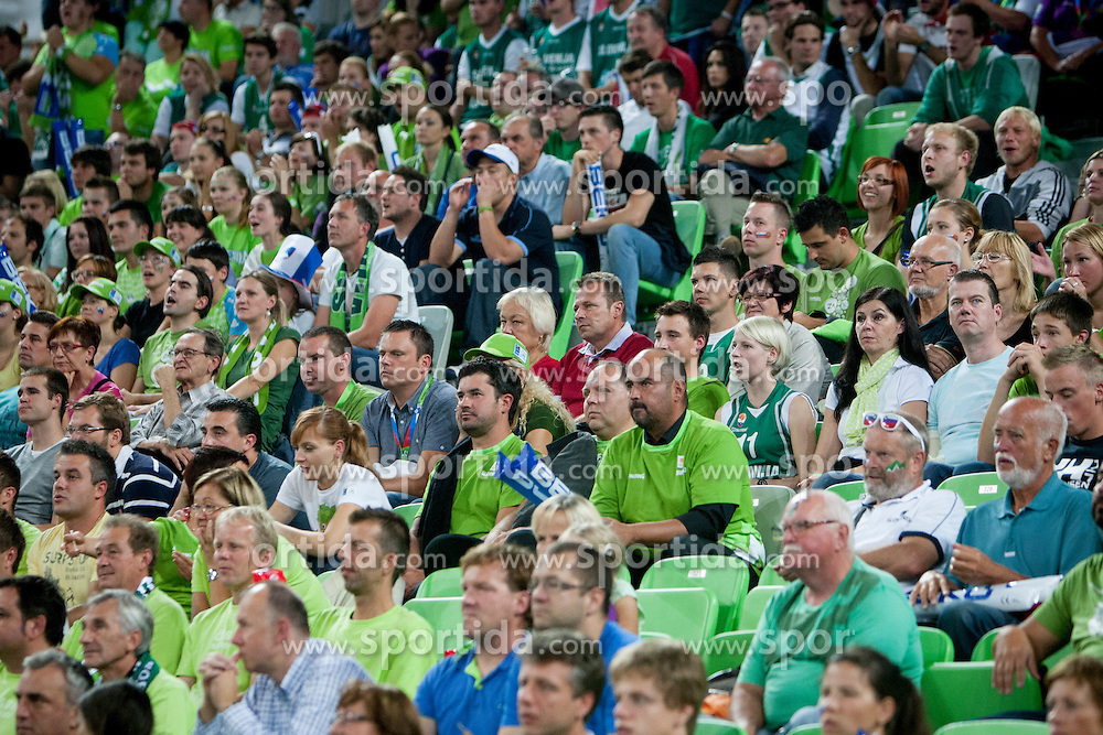 Slovenian fans during basketball match between National teams of Finland and Slovenia in 2nd Round at Day 13 of Eurobasket 2013 on September 14, 2013 in SRC Stozice, Ljubljana, Slovenia. (Photo By Urban Urbanc / Sportida)