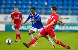 MOLDE, NORWAY - Wednesday, September 7, 2011: Liverpool's Kristian Adorjan in action against Molde's Mamadou Gando Ba during the second NextGen Series Group 2 match at Aker Stadion. (Photo by Vegard Grott/Propaganda)