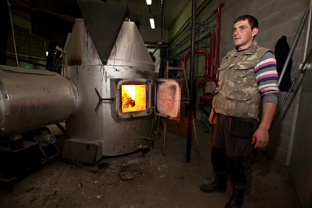 Bones and by-products of the meat processing that can't be used are burned in a furnace to provide fuel for the plant. Turkovic halal meat processing plant, Sjenica, Serbia.