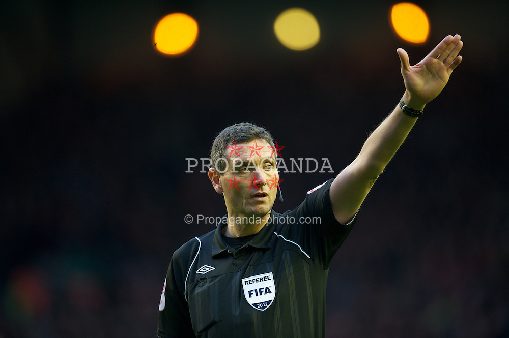 LIVERPOOL, ENGLAND - Saturday, February 19, 2012: Referee Andre Marriner during the FA Cup 5th Round match between Liverpool and Brighton & Hove Albion at Anfield. (Pic by David Rawcliffe/Propaganda)