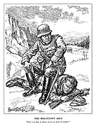 "The Reluctant Ally. ""Don't you dare to desert me in my hour of trouble!"" (a German soldier sits ontop of Finland with his pistol at the ready)"