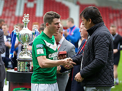 WREXHAM, WALES - Saturday, May 3, 2014: Aberystwyth Town's Mark Jones looks dejected as he receives his runners-up medal from Wales national team manager Chris Coleman after the Welsh Cup Final against The New Saints at the Racecourse Ground. (Pic by David Rawcliffe/Propaganda)