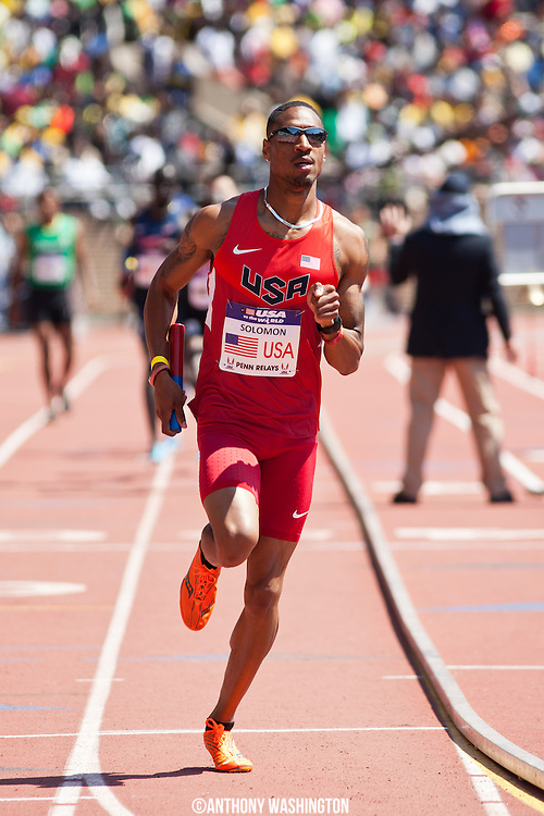Duane Solomon with the USA Red team runs the third leg of the USA vs. the World Men Distance Medley at the 119th Penn Relays on Saturday, April 27, 2013 in Philadelphia, PA.