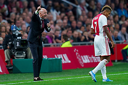 13-08-2019 NED: UEFA Champions League AFC Ajax - Paok Saloniki, Amsterdam<br />  Ajax won 3-2 and they will meet APOEL in the battle for a group stage spot / Coach Erik ten Hag # of Ajax, David Neres #7 of Ajax
