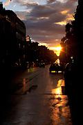 Sunset after the rain, Chaussee de Waterloo, Brussels, Belgium