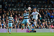 Queens Park Rangers forward Conor Washington (9) heads away during the EFL Sky Bet Championship match between Fulham and Queens Park Rangers at Craven Cottage, London, England on 1 October 2016. Photo by Jon Bromley.