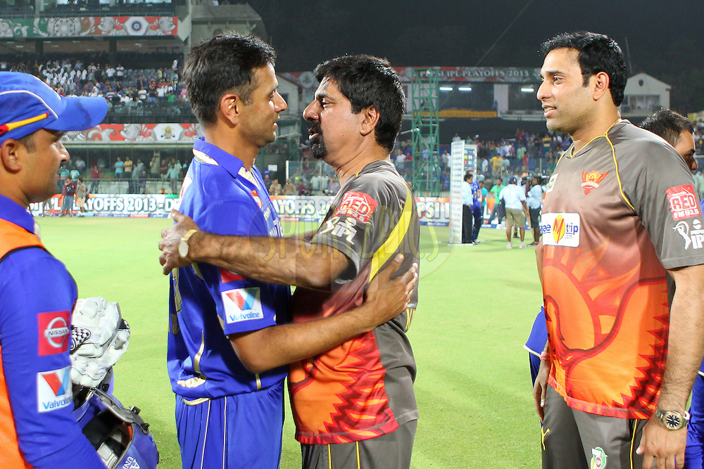 Krish Srikkanth Rahul Dravid and Kris during the  eliminator match of the 2013 Pepsi Indian Premier League between The Rajasthan Royals and the Sunrisers Hyderabad held at the Feroz Shah Kotla Stadium, Delhi on the 22nd May 2013..Photo by Ron Gaunt-IPL-SPORTZPICS    ..Use of this image is subject to the terms and conditions as outlined by the BCCI. These terms can be found by following this link:..http://www.sportzpics.co.za/image/I0000SoRagM2cIEc