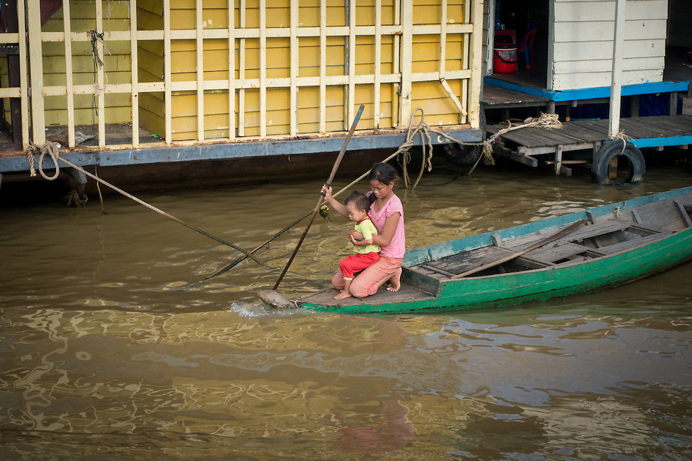 The Chong Kneas floating village is about 12 kilometers away from Siem Reap.  It is situated on the Tonle Sap Lake which is an abundant food source.
