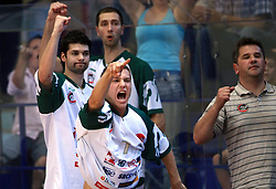 Jan Mocnik, Saso Ozbolt (L), and Hasan Rizvic of Olimpija during second final match of UPC Telemach league and Slovenian  National Championship  between KK Helios Domzale, Domzale and Union Olimpija, Ljubljana, Slovenia, on May 31, 2008, in Komunalni center hall in Domzale. Match was won by Helios Domzale 93:88. (Photo by Vid Ponikvar / Sportal Images)