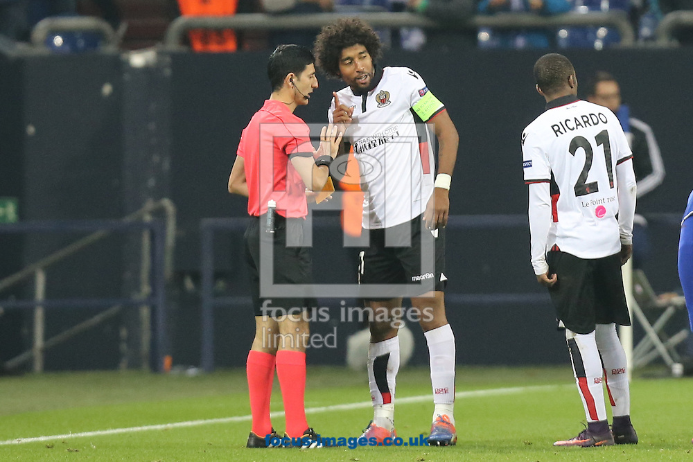 Dante of OGC Nice talks to the referee during the UEFA Europa League match at Veltins-Arena, Gelsenkirchen<br /> Picture by EXPA Pictures/Focus Images Ltd 07814482222<br /> 24/11/2016<br /> *** UK &amp; IRELAND ONLY ***<br /> <br /> EXPA-EIB-161125-0028.jpg