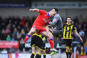 Oldham Athletic forward Curtis Main collides with Burton Albion goalkeeper Jon McLaughlin and Burton Albion forward Mark Duffy during the Sky Bet League 1 match between Burton Albion and Oldham Athletic at the Pirelli Stadium, Burton upon Trent, England on 26 March 2016. Photo by Jon Hobley.