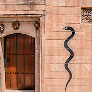 The entrance of a Yazidi temple. The meaning of the snake is still a mistery and has different interpretations