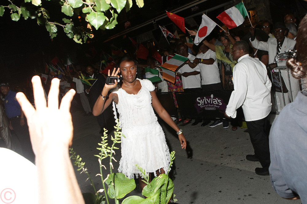 July 24, 2012-New York, NY:  Trennesse Woods-Black, Granddaughter to Slyvia Woods attends the official Slyvia Woods Harlem Community memorial and send off through the streets of Harlem. Sylvia Woods was an American restaurateur who co-founded the landmark restaurant Sylvia's in Harlem on Lenox Avenue, New York City with her husband, Herbert Woods, in 1962. (Photo by Terrence Jennings)