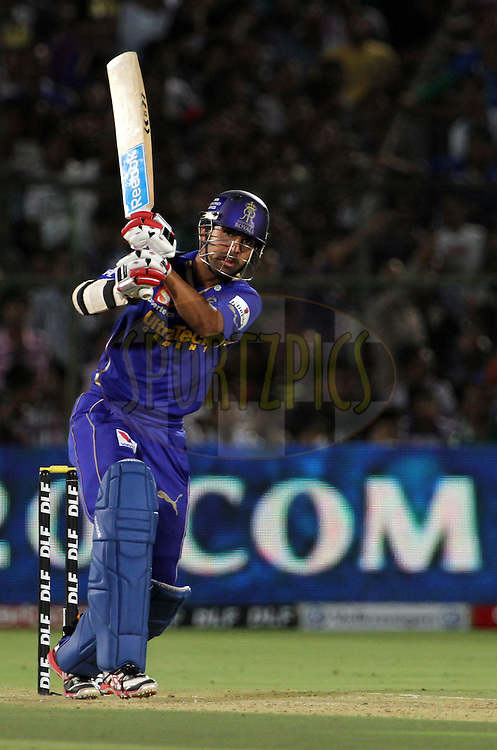 Rajasthan Royals player Ashok Menaria plays a shot during match 72 of the Indian Premier League ( IPL) 2012  between The Rajasthan Royals and the Mumbai Indians  held at the Sawai Mansingh Stadium in Jaipur on the 20th May2012..Photo by Vipin Pawar/IPL/SPORTZPICS