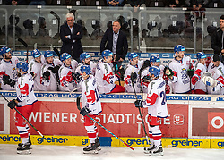 13.04.2019, Keine Sorgen Eisarena, Linz, AUT, Euro Hockey Challenge, Österreich vs Tschechien, Länderspiel, im Bild Team Tschechien feiert das 4 zu 2 // during the international friendly match between Austria and Czech Republic, as part of the Euro Hockey Challenge at the Keine Sorgen Eisarena in Linz, Austria on 2019/04/13. EXPA Pictures © 2019, PhotoCredit: EXPA/ Reinhard Eisenbauer