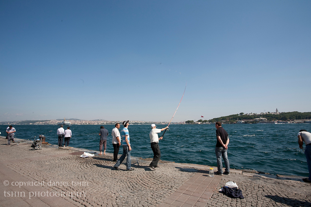 People fishing along the Bosphorus in Istanbul
