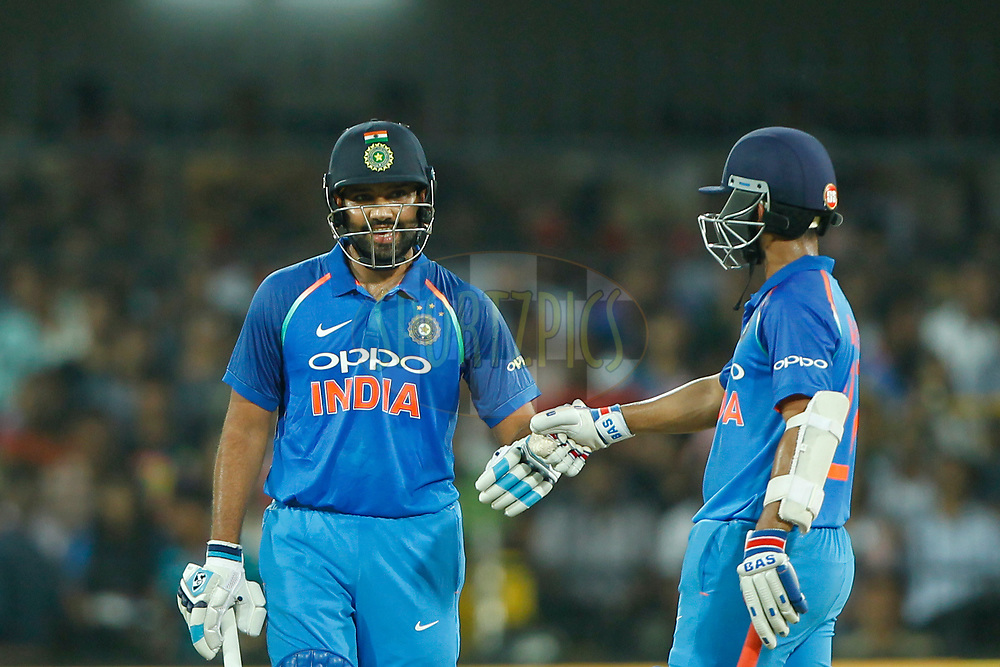 Rohit Sharma of India with Ajinkya Rahane of India during the 3rd One Day International between India and Australia held at the Holkar Stadium in Indore on the 24th  September 2017<br /> <br /> Photo by Deepak Malik / BCCI / SPORTZPICS