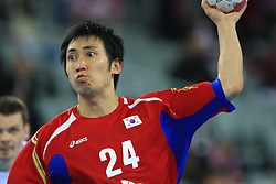 Jaewoo Lee (24) of Korea during 21st Men's World Handball Championship 2009 Main round Group I match between National teams of Slovakia and Korea, on January 24, 2009, in Arena Zagreb, Zagreb, Croatia.  (Photo by Vid Ponikvar / Sportida)
