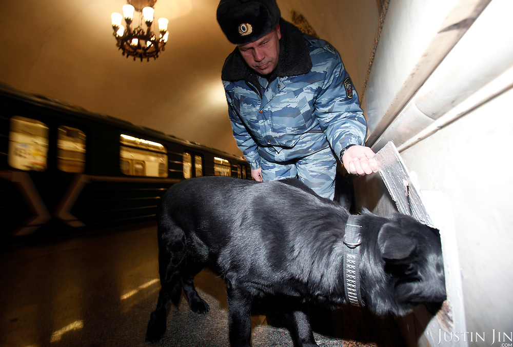A anti-terrorism police and his sniffer dog checks for explosives at the Kievskaya Moscow metro station on the ring line. .The Moscow Metro, which spans almost the entire Russian capital, is the world's second most heavily used metro system after the Tokyo's twin subway. Opened in 1935, it is well known for the ornate design of many of its stations, which contain outstanding examples of socialist realist art.