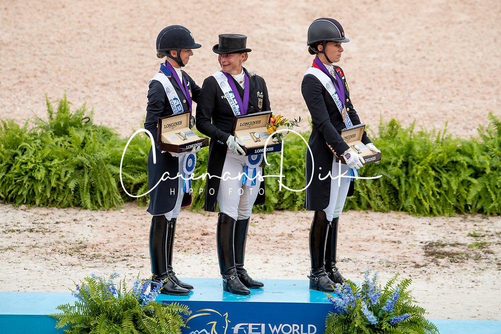Podium Grand Prix Special, Werth Isabell, Graves Laura, Dujardin Charlotte<br /> World Equestrian Games - Tryon 2018<br /> © Hippo Foto - Dirk Caremans<br /> 14/09/2018