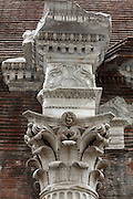 Capital of Corinthian column, exterior apse, Pantheon, 126 AD, Rome, Italy. The Pantheon, Temple to all the Gods, is now used as a Roman Catholic Church usually known as Santa Maria della Rotonda. Its dome is still the largest made from unreinforced concrete in the world. Photograph by Manuel Cohen.