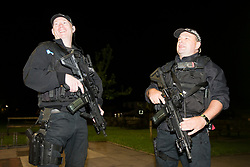 © Licensed to London News Pictures. 08/06/2017. Kendal UK. Picture shows armed police outside Kendal leisure centre as counting has started for Tim Farron's constituency of Westmorland & Lonsdale. Photo credit: Andrew McCaren/LNP
