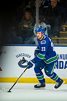 KELOWNA, BC - SEPTEMBER 29:  Alexander Edler #23 of the Vancouver Canucks skates with the puck against the Arizona Coyotes at Prospera Place on September 29, 2018 in Kelowna, Canada. (Photo by Marissa Baecker/NHLI via Getty Images)  *** Local Caption *** Alexander Edler