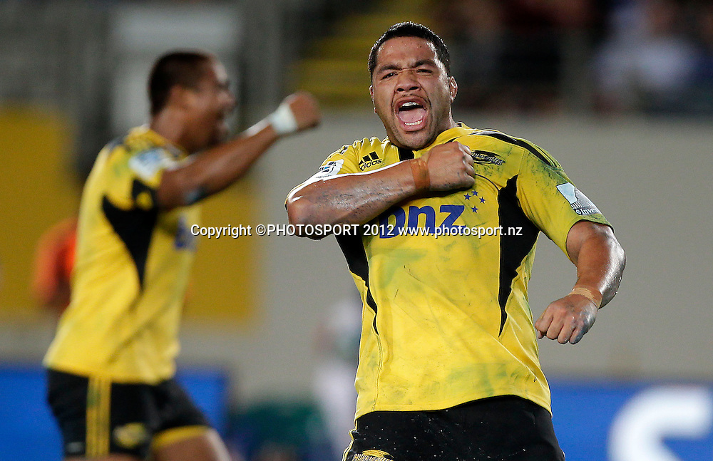 Motu Matu'u of the Hurricanes celebrates a last minute winning try during the Super Rugby game between The Blues and The Hurricanes at Eden Park, Auckland New Zealand, Friday 23 March 2012. Photo: Simon Watts / photosport.co.nz