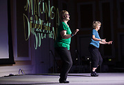 Kelsey Hencerroth and Anne Cooper-Chen perform a tap dance number during the International Women's Day Festival in Baker Ballroom on Sunday, March 19, 2017. © Ohio University / Photo by Kaitlin Owens
