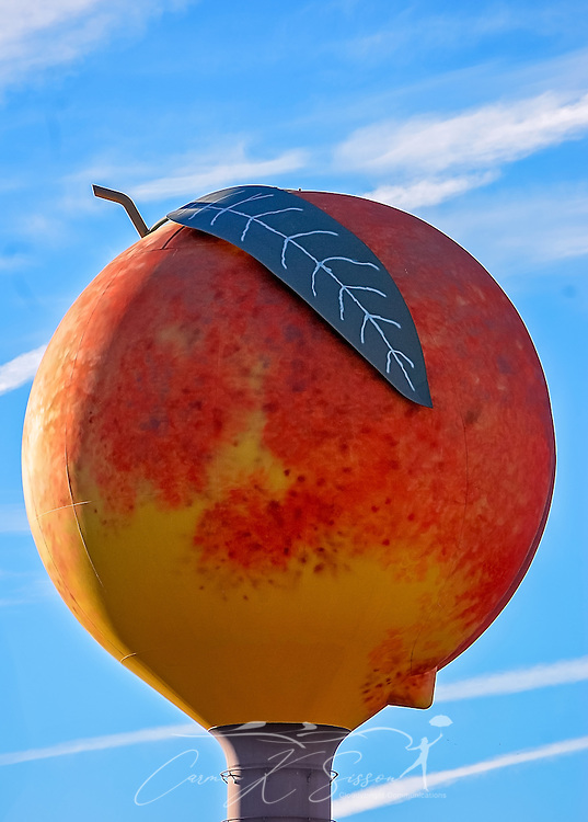 The peach-shaped water tower is pictured, Jan. 3, 2011, in Clanton, Alabama. Clanton, located in Chilton County, is known for its peaches. The water tower was built by Chicago Bridge & Iron Company in 1992. It is 120 feet tall and holds 500,000 gallons of water. It is located off exit 212 on I-65. (Photo by Carmen K. Sisson/Cloudybright)