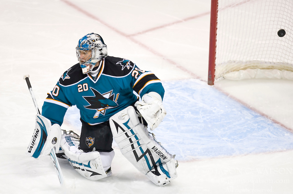 December 9, 2009; San Jose, CA, USA;  San Jose Sharks goalie Evgeni Nabokov (20) is scored on during the second period against the Los Angeles Kings at HP Pavilion. Los Angeles defeated San Jose 5-4 in overtime. Mandatory Credit: Jason O. Watson / US PRESSWIRE