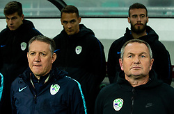 Igor Benedejcic, assistant coach and Matjaz Kek, head coach of Slovenia during the 2020 UEFA European Championships group G qualifying match between Slovenia and Latvia at SRC Stozice on November 19, 2019 in Ljubljana, Slovenia. Photo by Vid Ponikvar / Sportida